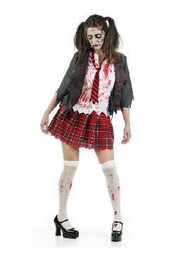 disfraz de colegiala zombie mujer. Forma parte de la serie de televisión Walking Dead siendo uno de las estudiantes no muertas en Carnaval, Fiestas Temáticas o Despedidas de Solter@ o en halloween uniformes de trabajo, miedo adulto en pareja.