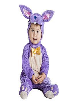 disfraz de conejo lila bebe infantil. Podrás convertir a los más pequeños de la casa en este dulce y tierno animalito del bosque en Carnaval o Fiestas de la Guardería o Cumpleaños. Este disfraz es ideal para tus fiestas temáticas de disfraces de animales para bebes.