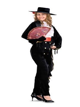 disfraz de cordobesa sexy mujer. lucirás el traje típico de Córdoba. Perfecto para montar a caballo o para marcarte unos pasos de baile en un tablao en fiestas temáticas y en la feria de abril en pareja. Este traje es ideal para tus fiestas temáticas de andaluces y flamencos.adulto