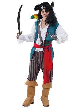 disfraz de corsario pirata lujo hombre adulto. Abandona el mar del Caribe y en compañía del resto de la tripulación podréis disfrutar de las fiestas de disfraces.Este disfraz es ideal para tus fiestas temáticas de disfraces de piratas, corsarios y bucaneros