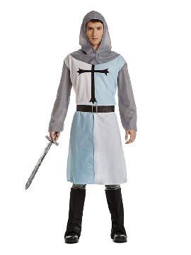 Este disfraz de guerrero o cruzado medieval es de lo más barato que puedes encontrar. Para representaciones teatrales o para mercados medievales esta compuesto por una tunica con cruz. Es ideal para tus fiestas temáticas de disfraces epoca y medievales para la edad media hombre  adultos