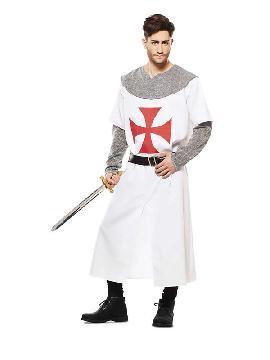 disfraz de cruzado medieval blanco hombre