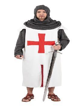 disfraz de cruzado medieval hombre varias tallas. Compra tu disfraz barato y te dará impulso para regresar al medievo. Ponte al frente de la quinta cruzada y participa con tus soldados en fiestas medievales.