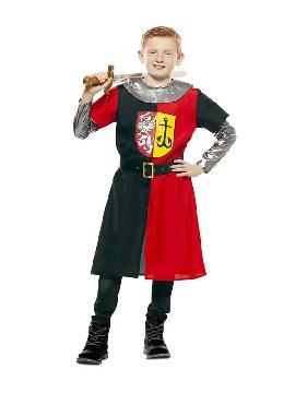 disfraz de cruzado medieval rojo y negro niño