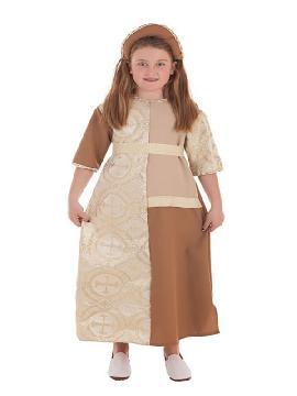 disfraz de dama medieval marron para niña