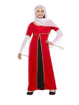 disfraz de dama medieval roja niña