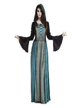 disfraz de dama siniestra oscura mujer. Lo pasarán de muerte asustando a los pequeños en la noche de Terror y halloween. Este disfraz es ideal para tus fiestas temáticas de miedo y vampiros para adulto