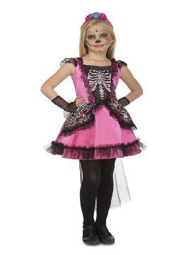 disfraz de damisela esqueleto rosa para niña