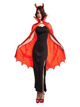 disfraz de demonia del infierno mujer. El traje de demonia roja y negra es ideal para la fiesta de Halloween o para cualquier otra fiesta. Este disfraz es ideal para tus fiestas temáticas de disfraces miedo y terror adultos en pareja.