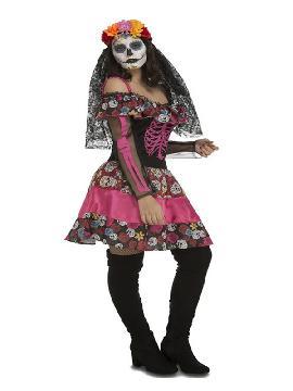 disfraz de dia de los muertos rosa para mujer