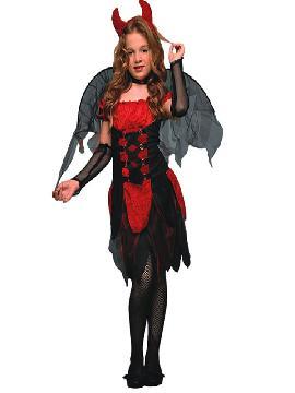 Disfraz de diablilla roja para niña. Es muy cómodo para vestir a los diminutos de la casa, y que puedan hacer mil travesuras en las fiestas temáticas de las guarderías, en halloween. Es ideal para tus fiestas temáticas de disfraces de miedo y diablos infantiles.