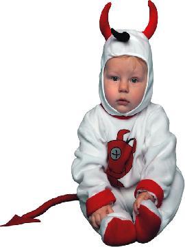 Disfraz de diablo blanco para bebé. Es muy cómodo para vestir a los mas pequeños de la casa, y que puedan hacer mil travesuras en las fiestas temáticas de las guarderías, en halloween. Es ideal para tus fiestas temáticas de disfraces de miedo y diablos para niños infantiles.