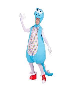 disfraz de dinosaurio azul adulto