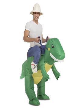 disfraz de dinosaurio hinchable a hombros con explorador adulto