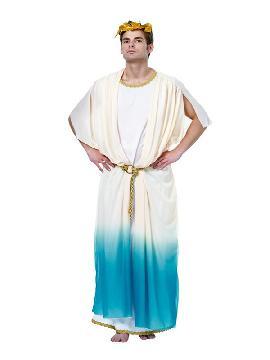 disfraz de dios griego hombre. Inspirado en la vestimenta típica de los emperadores y senadores romanos, o de los miembros de la aristocracia griega antigua. Este disfraz es ideal para tus fiestas temáticas de disfraces de guerreros y arabes, romanos y egipcios para grupos y familias.