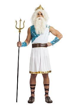 Con este disfraz de dios marino sera una autentico dios griego con disfraz precioso, tunica blanca y con tonos dorados y azules. No incluye accesorios pero puedes ser una griego o dios marino en carnaval o cualquier fiesta de tematica.