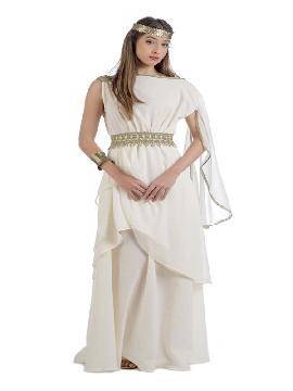 disfraz de diosa calipsa para mujer. Este tipo de vestidos, son favorecedores y aportan mucho estilo, para poder asistir a cenas y bailes de disfraces elegantes. Este disfraz es ideal para tus fiestas temáticas de disfraces de guerreros y arabes, romanos y egipcios para adultos. fabricación nacional
