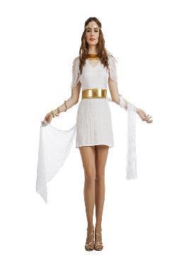 disfraz de diosa griega corto mujer. Este tipo de vestidos, son favorecedores y aportan mucho estilo, para poder asistir a cenas y bailes de disfraces elegantes. Este disfraz es ideal para tus fiestas temáticas de disfraces de guerreros y arabes, romanos y egipcios para adultos.
