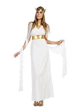 disfraz de diosa griega largo mujer.  Este tipo de vestidos, son favorecedores y aportan mucho estilo, para poder asistir a cenas y bailes de disfraces elegantes. Este disfraz es ideal para tus fiestas temáticas de disfraces de guerreros y arabes, romanos y egipcios para adultos.