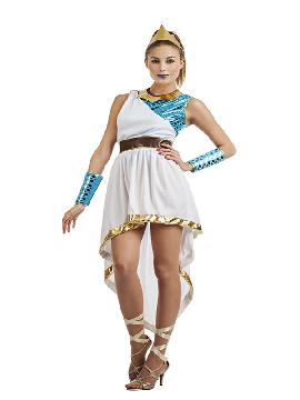 Este disfraz de diosa marina sera una griega espectacular, en tus fiesta de disfraces con vestido con tonos dorados y azules. No incluye accesorios pero puedes ser una griega o reina marina en carnaval o cualquier fiesta de tematica.