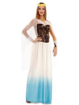 Disfraz de diosa romana mujer. Con este elegante vestido que te convertirá en la diosa del matrimonio y reina de los dioses en carnaval, navidad y fiestas de romanos y griegos.