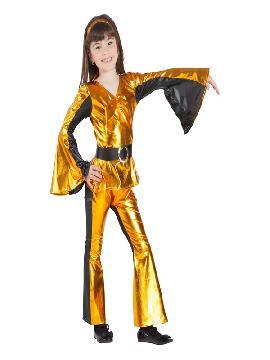 disfraz de disco dorado niña