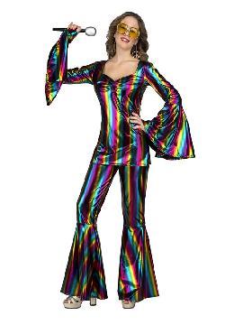 disfraz de disco multicolor para mujer