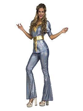 disfraz de disco plateado y dorado para mujer