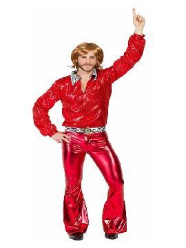 disfraz de disco rojo deluxe hombre. Este disfraz de los años 70 es ideal para imitar a los integrantes del famoso grupo de música pop 'ABBA' fiesta de la Disco. Este disfraz es ideal para tus fiestas temáticas de disfraces de hippies y años 60,70 y 80 para adulto en pareja
