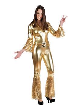 disfraz de diva de la disco oro mujer. Este disfraz de los años 70 es ideal para imitar a los integrantes del famoso grupo de música pop 'ABBA' fiesta de la Disco. Este disfraz es ideal para tus fiestas temáticas de disfraces de hippies y años 60,70 y 80 para adulto. fabricación nacional