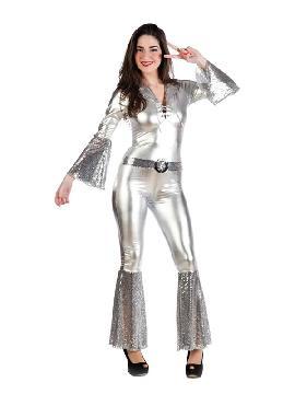 disfraz de diva de la disco plata mujer. Este traje de la Fiebre del sábado noche es ideal para imitar a los integrantes del famoso grupo de música pop 'ABBA' fiesta de la Disco. Te lo pasará en grande.Este disfraz es ideal para tus fiestas temáticas de disfraces de hippies y años 60,70 y 80 para adulto. fabricación nacional