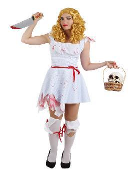 disfraz de dorothy halloween para mujer varias tallas. Tendrás que seguir el camino de baldosas amarillas con este disfraz del mago de oz. Acompáñate del León, del Hombre de Hojalata y del Espantapájaros para bailar en Halloween. Este disfraz es ideal para tus fiestas temáticas de disfraces de miedo y cuentos para mujer adultos.
