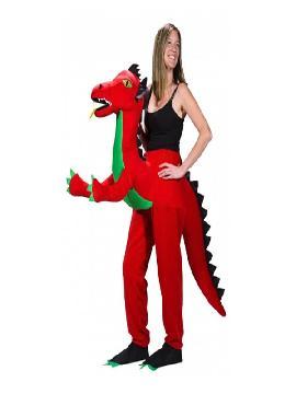 disfraz de dragón rojo a hombros mujer