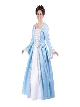 disfraz de duquesa azul lujo mujer adulto. Conviértete en la esposa de napoléon Bonaparte con este precioso traje y disfruta en tus fiestas temáticas o carnaval.Este disfraz es ideal para tus fiestas temáticas de disfraces epoca y medievales para la edad media de mujer adultos. fabricacion nacional.