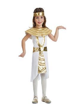disfraz de egipcia cleopatra para niña infantil. Presume de elegancia y estilo frente al faraón con este traje de cleopatra. Rodéate de esclavos que te ayuden a estar siempre perfecta para tus fiestas temáticas y carnaval. Este disfraz es ideal para tus fiestas temáticas de disfraces romanos y egipcios para grupos y familias.
