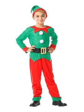 disfraz de elfo verde rojo niño. Le quedará ideal a los niños que quieren ayudar a Papá Noel, guiando el trineo y cuidando los renos, son duendes en los festivales de navidad, fiestas temáticas y carnaval infantiles