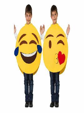 disfraz de emoticono para niño. Representa tus emociones a través whatsapps con caras en directo en Fiestas temáticas, halloween y carnaval. Este disfraz es ideal para tus fiestas temáticas de disfraces humor divertido infantil.