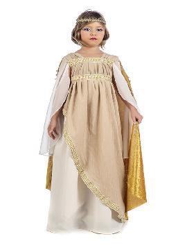 disfraz de emperatriz romana niña. Este tipo de vestidos, son favorecedores y aportan mucho estilo, para poder asistir a cenas y bailes de disfraces elegantes. Este disfraz es ideal para tus fiestas temáticas de disfraces de guerreros y arabes, romanos y egipcios para infantiles. Fabricación Nacional
