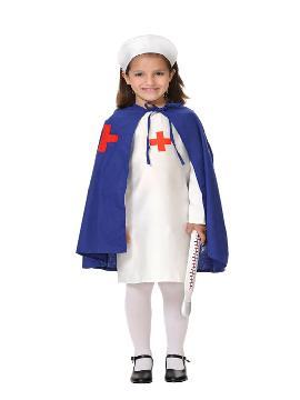 Disfraz de enfermera con capa para niña. Cuida los enfermos con este traje. Te convertirás en la cuidadora más cariñosa en tus festivales escolares,carnaval.Este disfraz es ideal para tus fiestas temáticas de disfraces de enfermeras niñas. fabricacion nacional