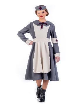 disfraz de enfermera vintage mujer. Cuida los enfermos con este traje. Te convertirás en la cuidadora más cariñosa en carnaval.Este disfraz es ideal para tus fiestas temáticas de disfraces de enfermera y medicos adulto fabricación nacional