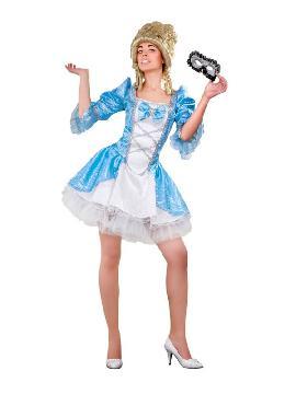 disfraz de época lady versalles azul mujer. Compra tu disfraz barato es ideal para fiestas temáticas inspiradas en la edad media, ferias y mercados medievales adulto.