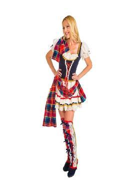 disfraz de escocesa sexy lujo mujer
