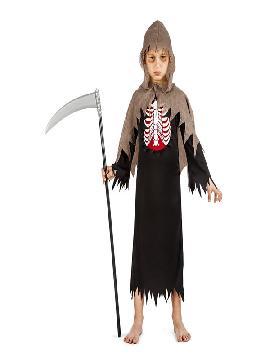 disfraz de espectro esqueleto para niño