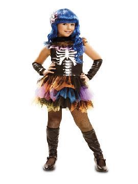 disfraz de esqueleto arco iris para niña