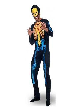 disfraz de esqueleto colores para hombre. Este original traje de terror es perfecto para sorprender a tus amigos en fiestas y carnavales.Este disfraz es ideal para tus fiestas temáticas de disfraces de miedo y esqueletos para hombre adultos.