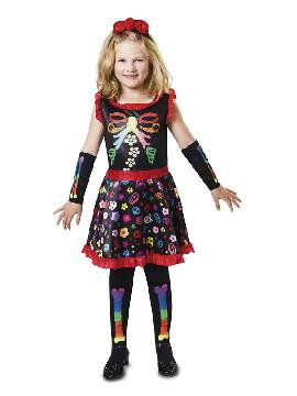 disfraz de esqueleto colorines para niña