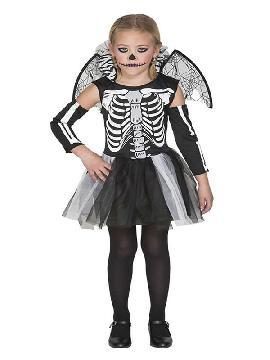 disfraz de esqueleto con alas para niña