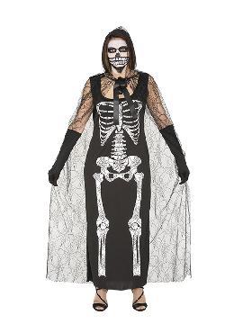 disfraz de esqueleto con capa mujer