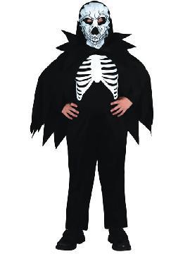 disfraz de esqueleto con capa niño varias tallas. Es muy cómodo para vestir a los diminutos de la casa, y que puedan hacer mil travesuras en las fiestas temáticas de las guarderías, en halloween.es ideal para tus fiestas temáticas de disfraces de miedo y esqueleto infantiles.