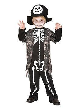 disfraz de esqueleto con chaleco gris niño
